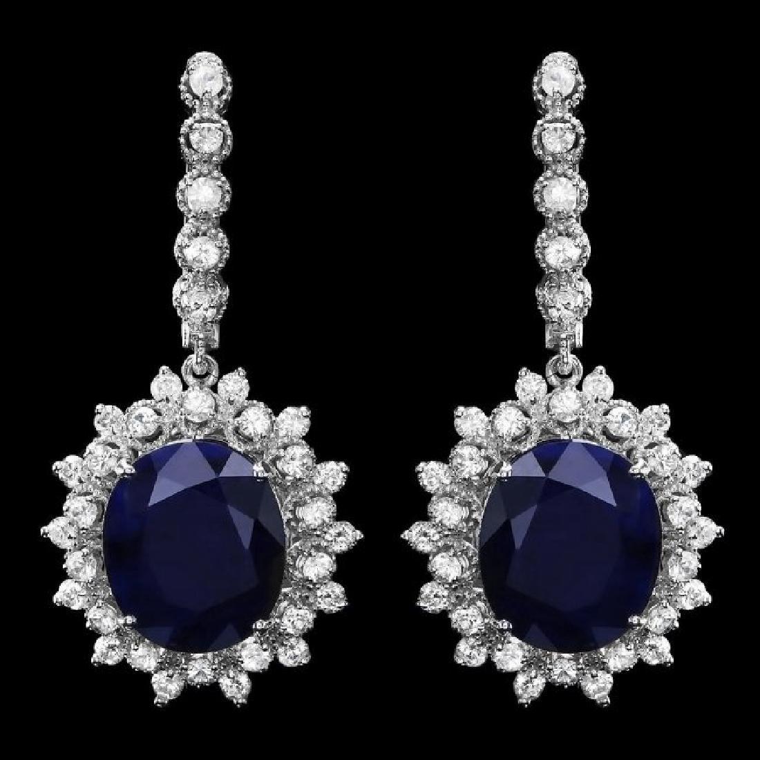 14k Gold 14ct Sapphire 2.00ct Diamond Earrings