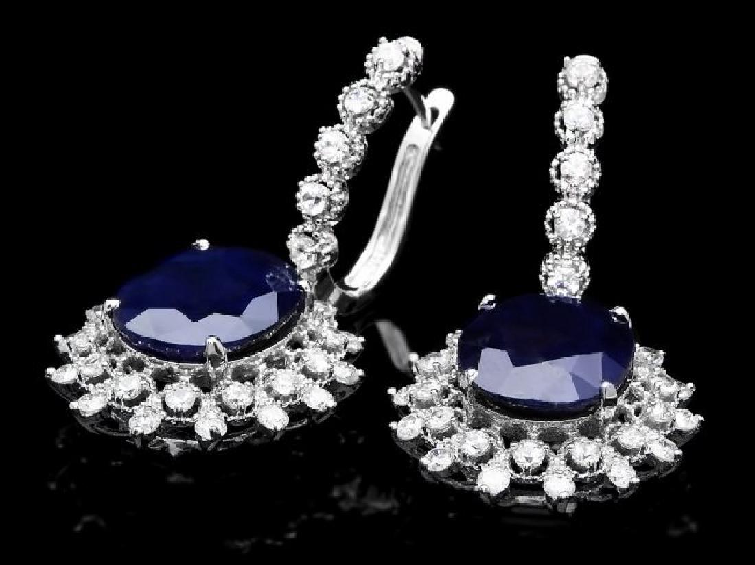 14k Gold 14ct Sapphire 2.00ct Diamond Earrings - 2