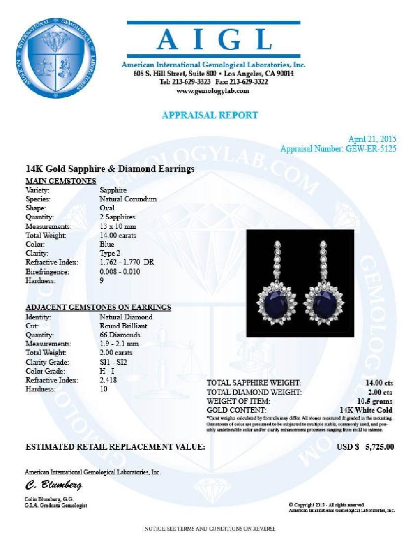 14k Gold 14ct Sapphire 2.00ct Diamond Earrings - 3