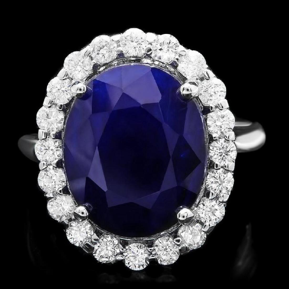 14k Gold 10.00ct Sapphire 0.90ct Diamond Ring