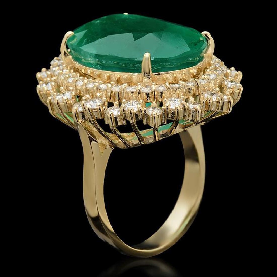 14K Gold 17.93ct Emerald 2.10ct Diamond Ring - 2
