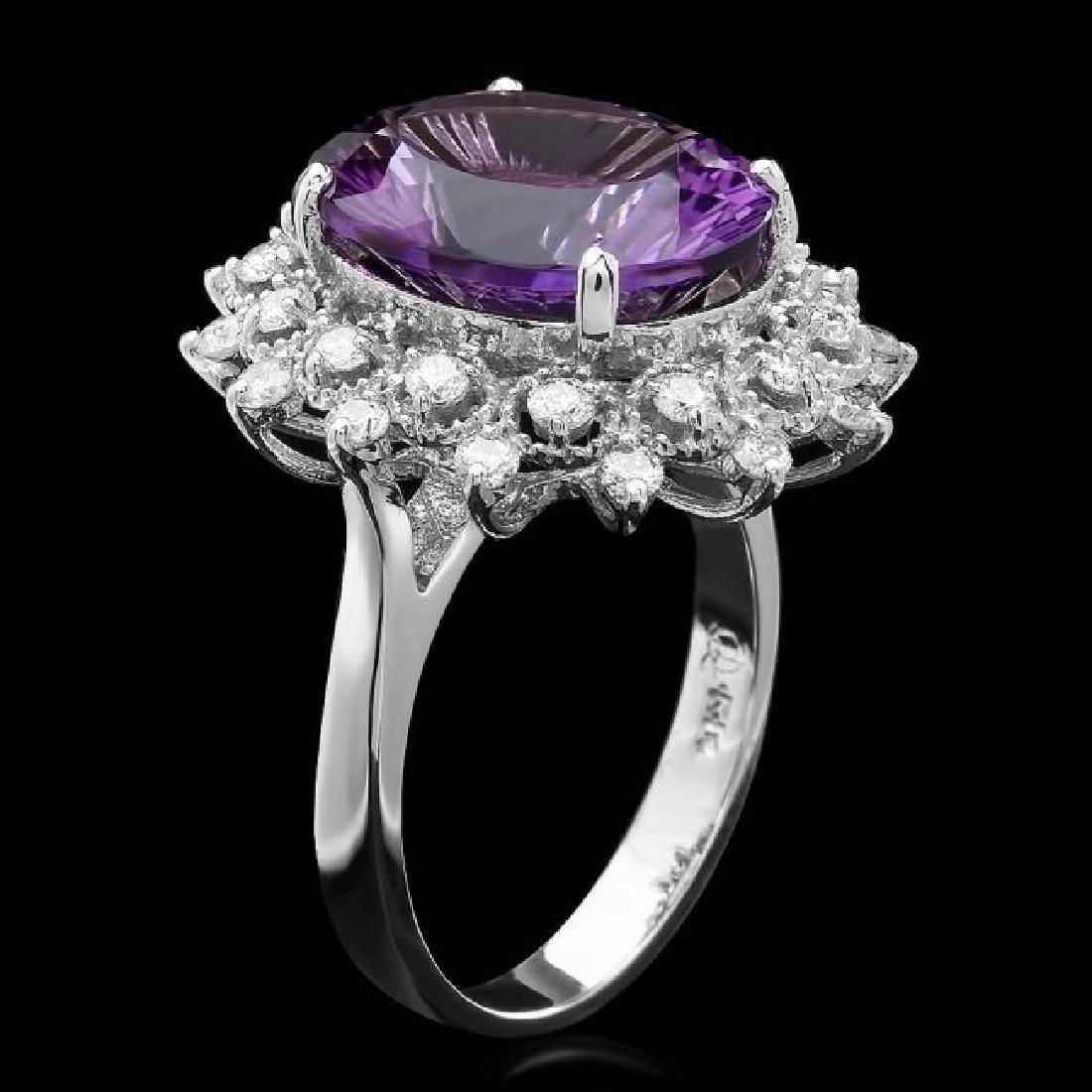 14k Gold 6.30ct Amethyst 0.80ct Diamond Ring - 2