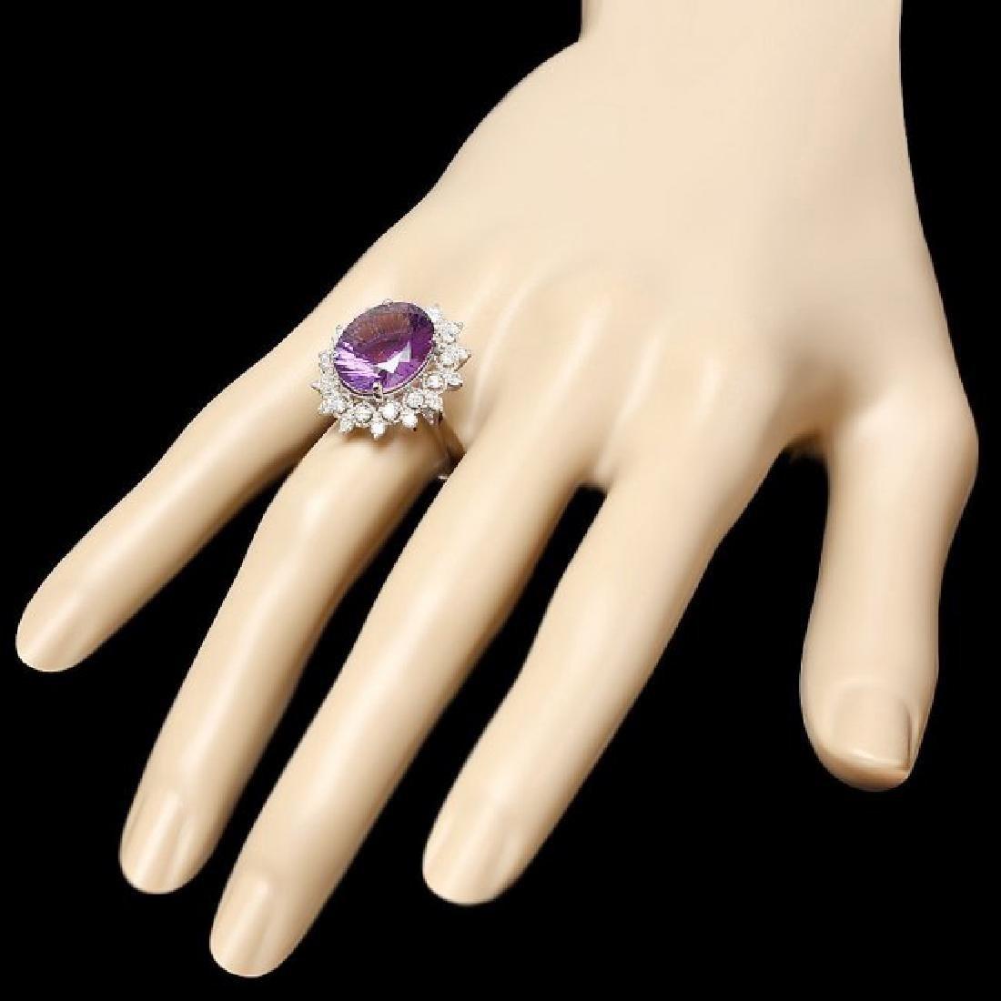 14k Gold 6.30ct Amethyst 0.80ct Diamond Ring - 3