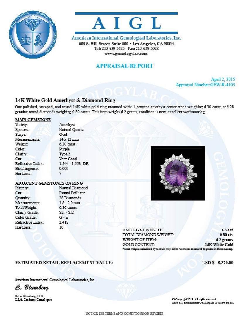 14k Gold 6.30ct Amethyst 0.80ct Diamond Ring - 4