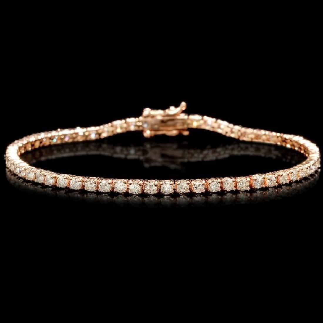 14k Rose Gold 3.60ct Diamond Bracelet