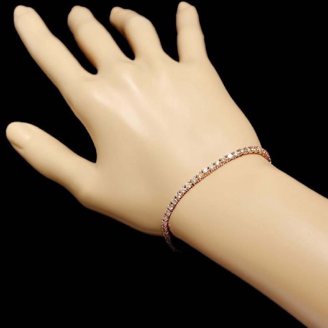 14k Rose Gold 3.60ct Diamond Bracelet - 4