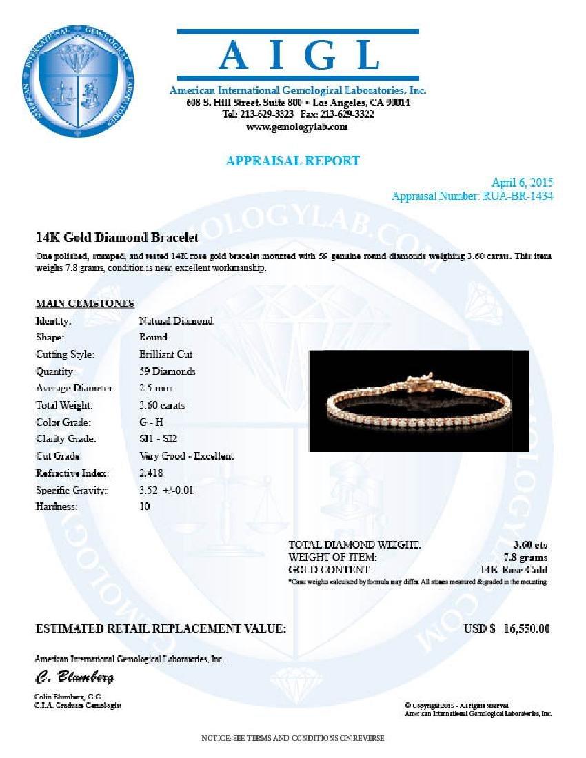 14k Rose Gold 3.60ct Diamond Bracelet - 5
