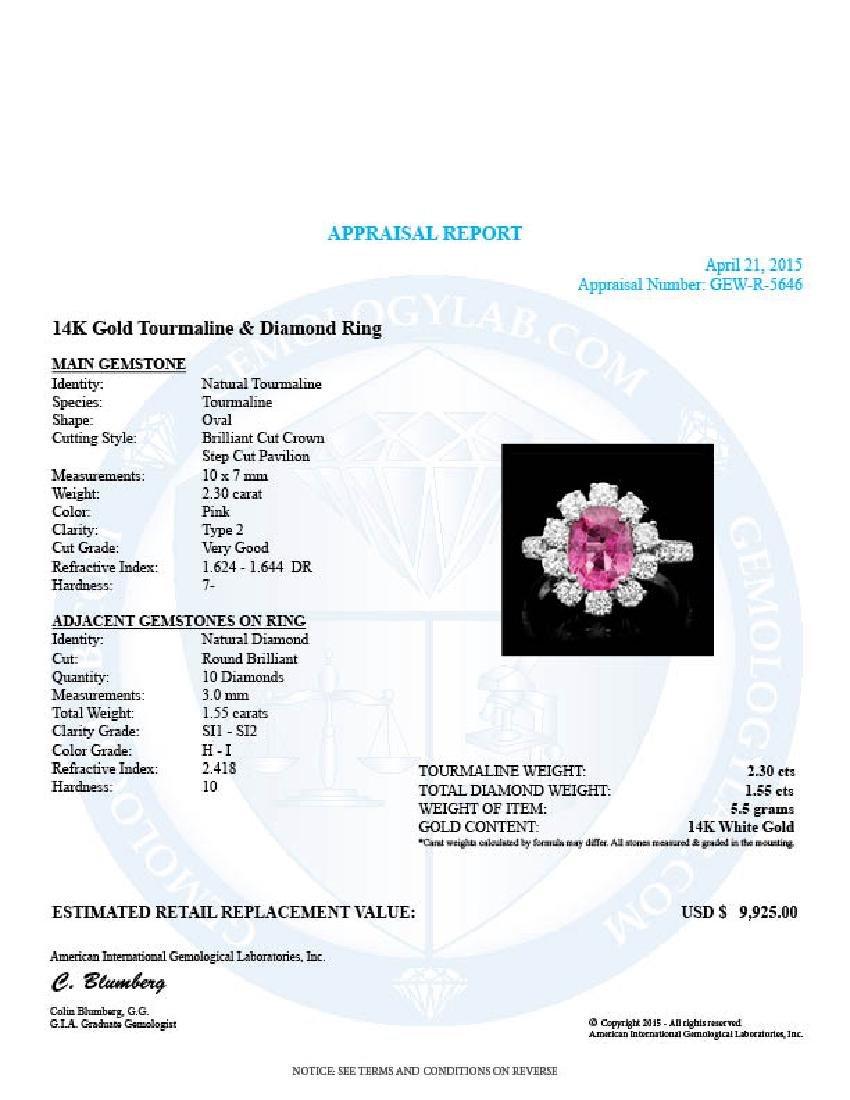 14k Gold 2.30ct Tourmaline 1.55ct Diamond Ring - 4