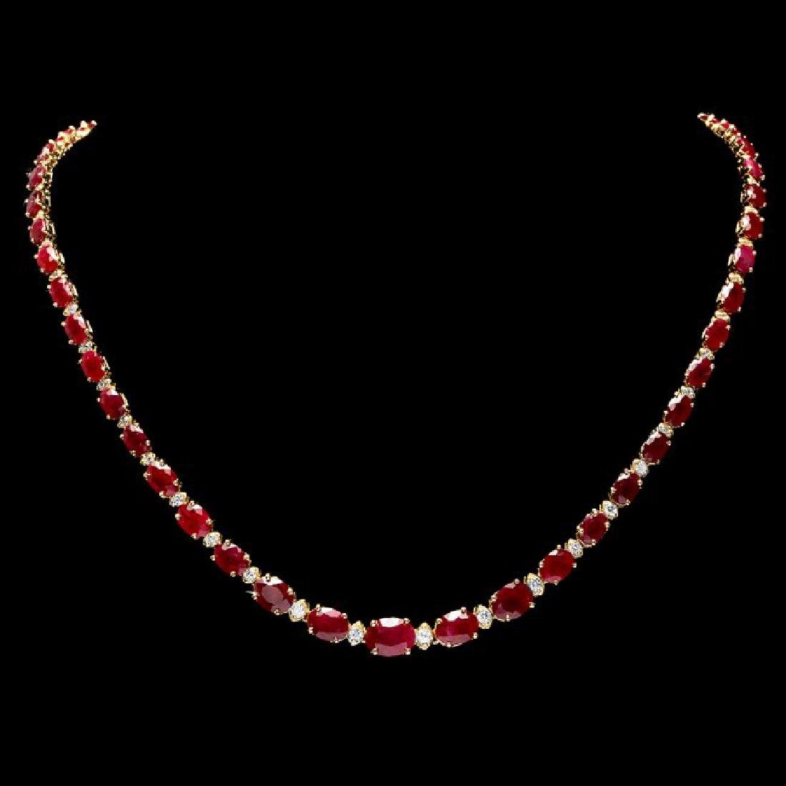 14k Gold 37.00ct Ruby 1.60ct Diamond Necklace