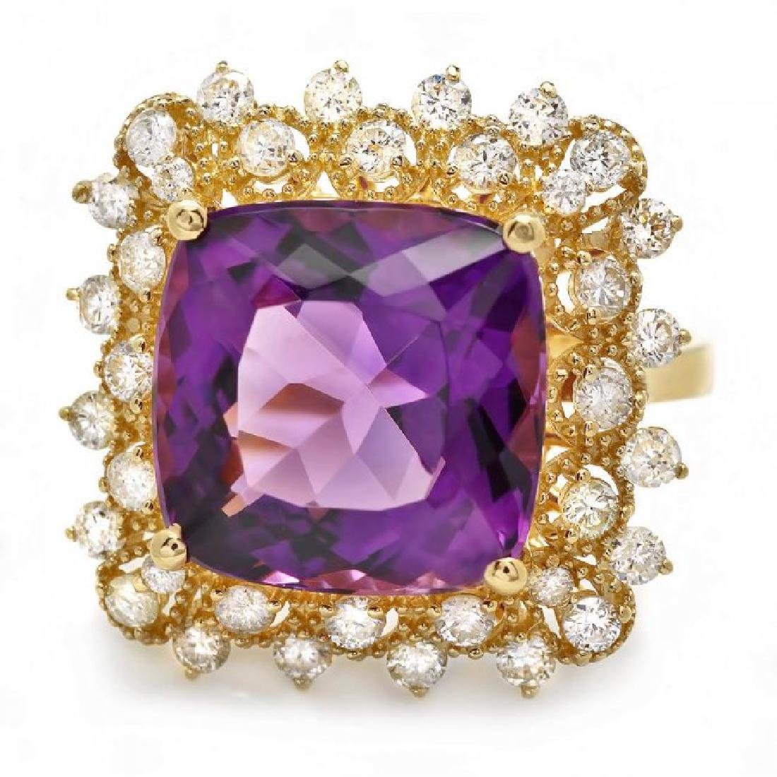 14k Gold 7.30ct Amethyst 1.00ct Diamond Ring - 2