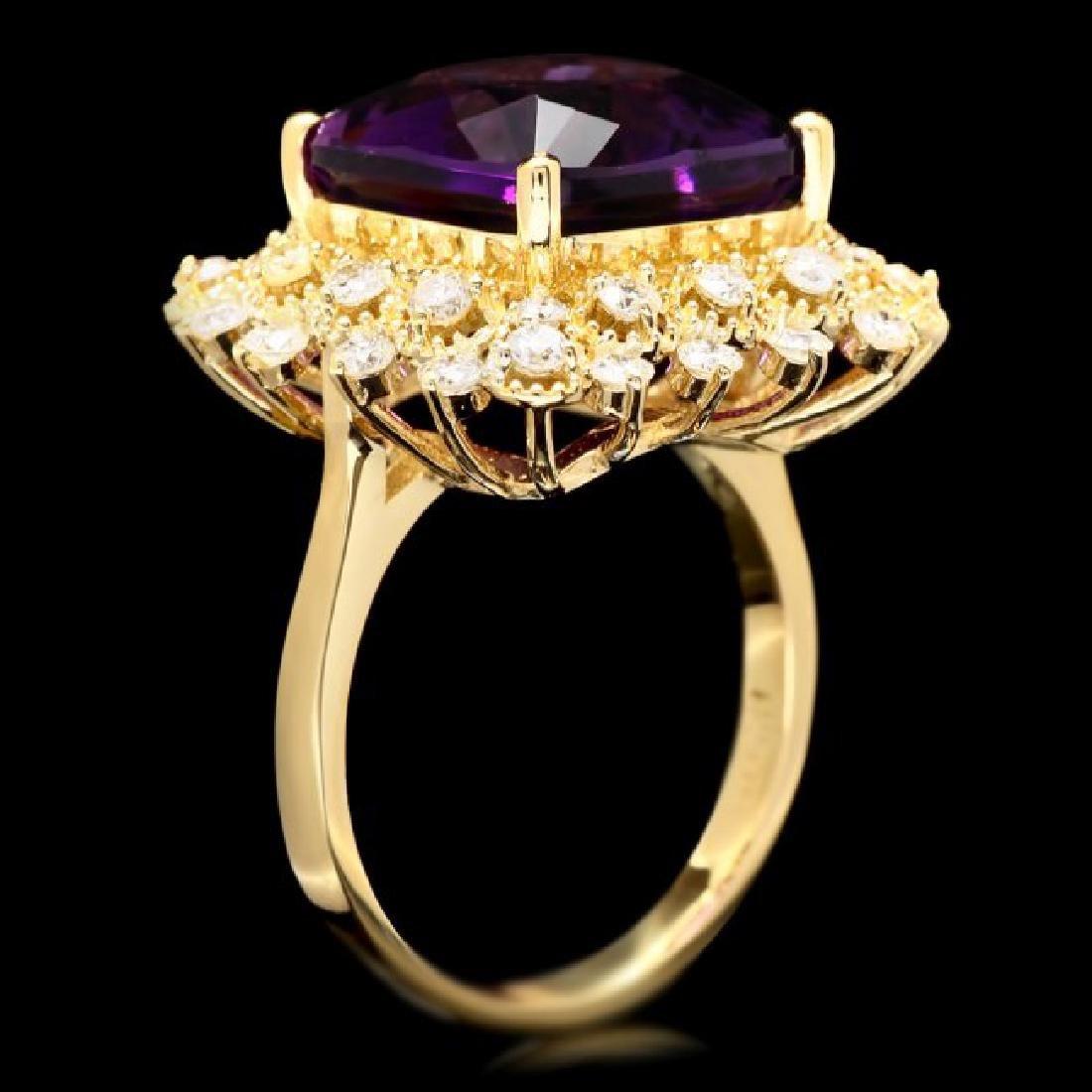 14k Gold 7.30ct Amethyst 1.00ct Diamond Ring - 3