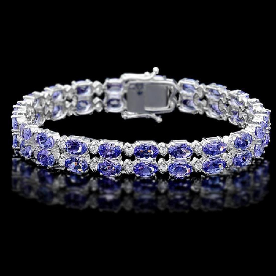 14k 20.00ct Tanzanite 1.30ct Diamond Bracelet