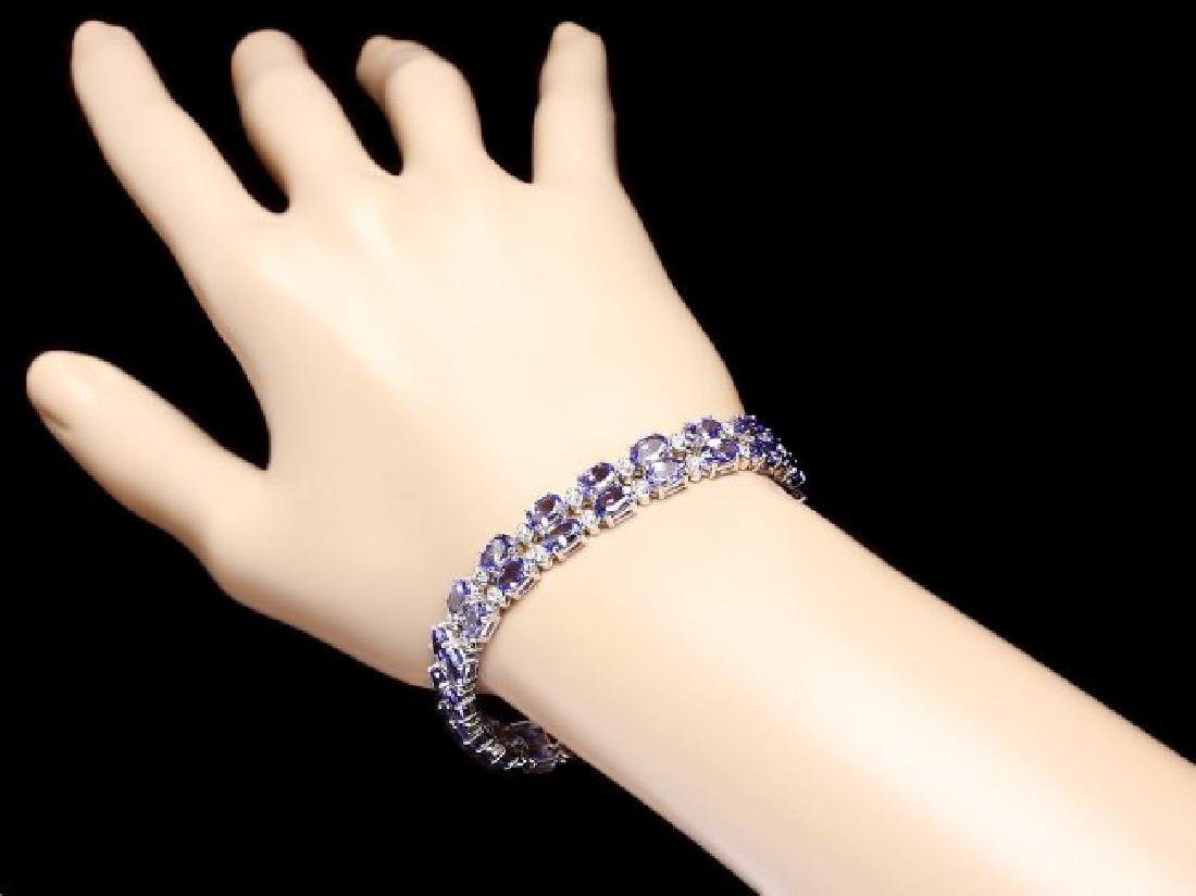 14k 20.00ct Tanzanite 1.30ct Diamond Bracelet - 5
