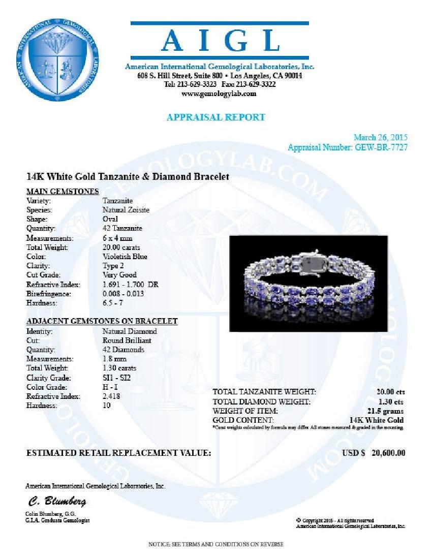14k 20.00ct Tanzanite 1.30ct Diamond Bracelet - 6