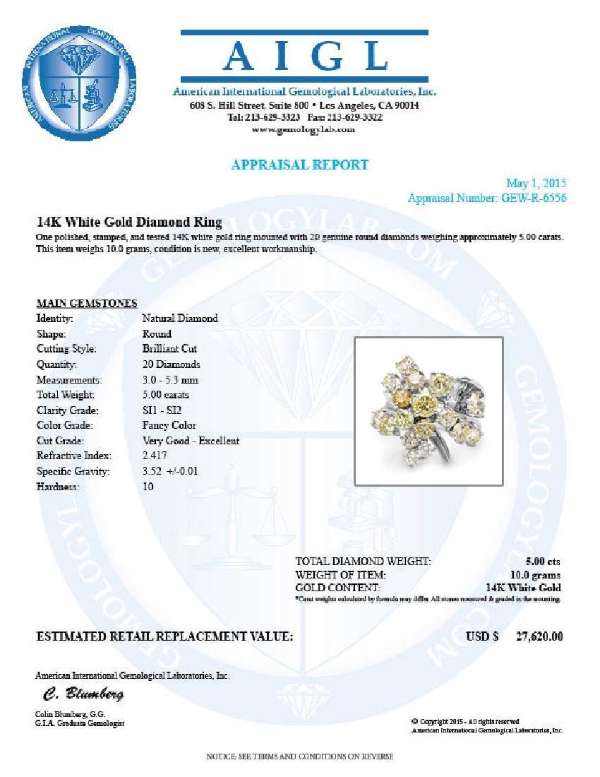 14k White Gold 5.00ct Diamond Ring - 5
