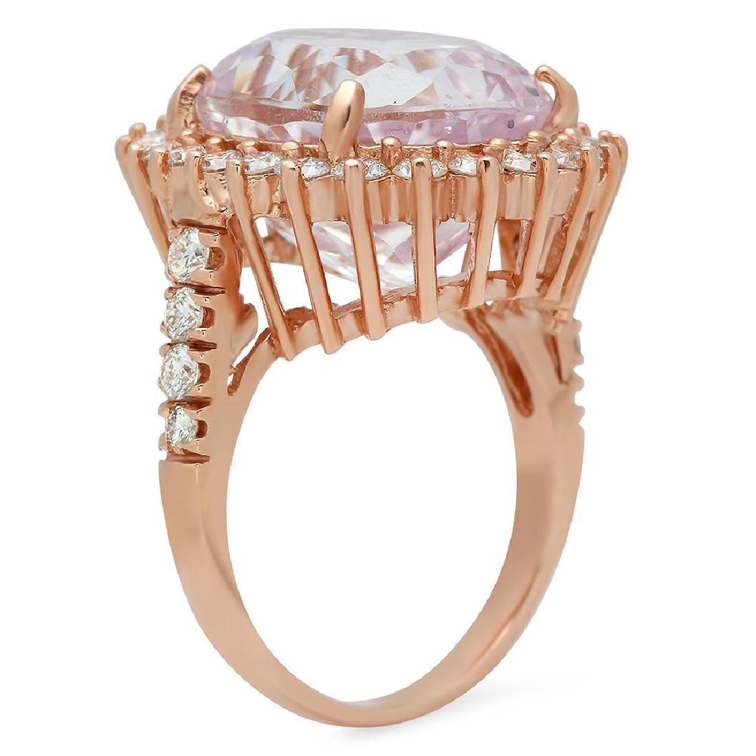 14K Gold 16.65ct Kunzite 1.46ct Diamond Ring - 2