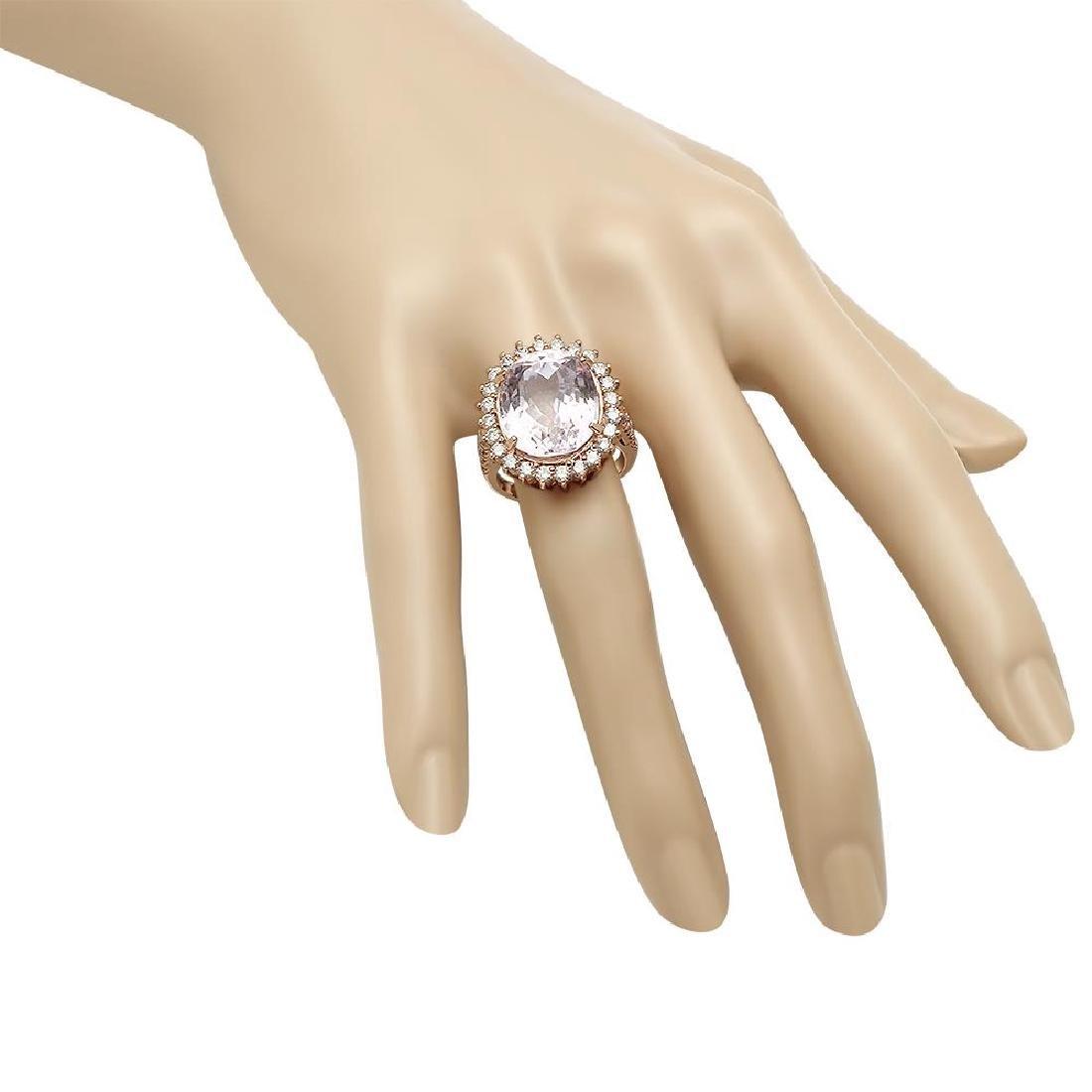 14K Gold 16.65ct Kunzite 1.46ct Diamond Ring - 3