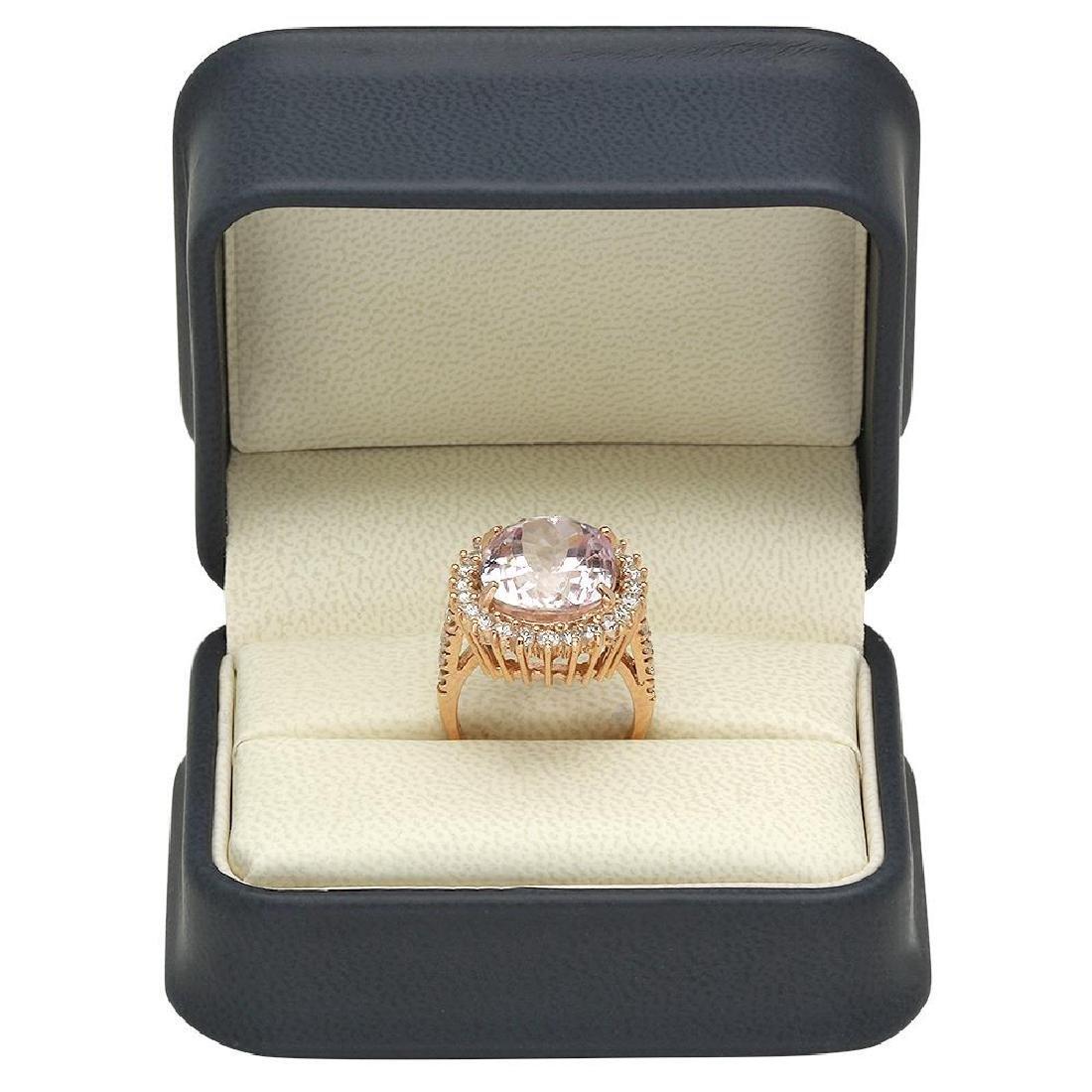 14K Gold 16.65ct Kunzite 1.46ct Diamond Ring - 4