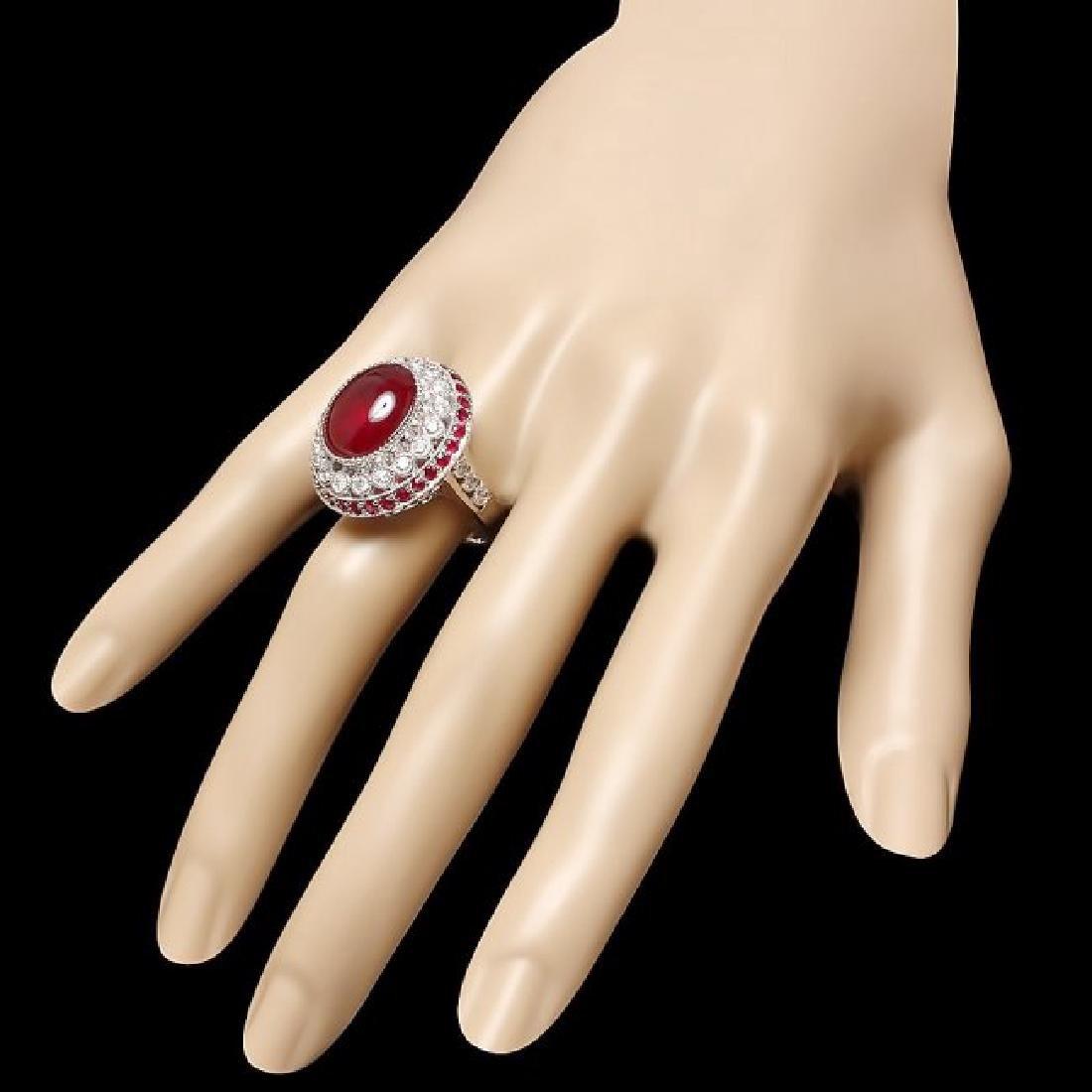 14k White Gold 12ct Ruby 0.90ct Diamond Ring - 3