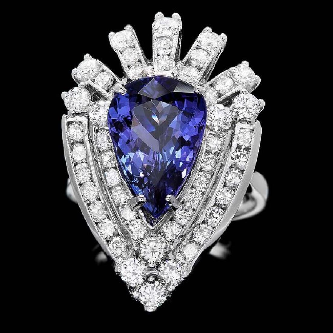 14k Gold 4.50ct Tanzanite 2.30ct Diamond Ring