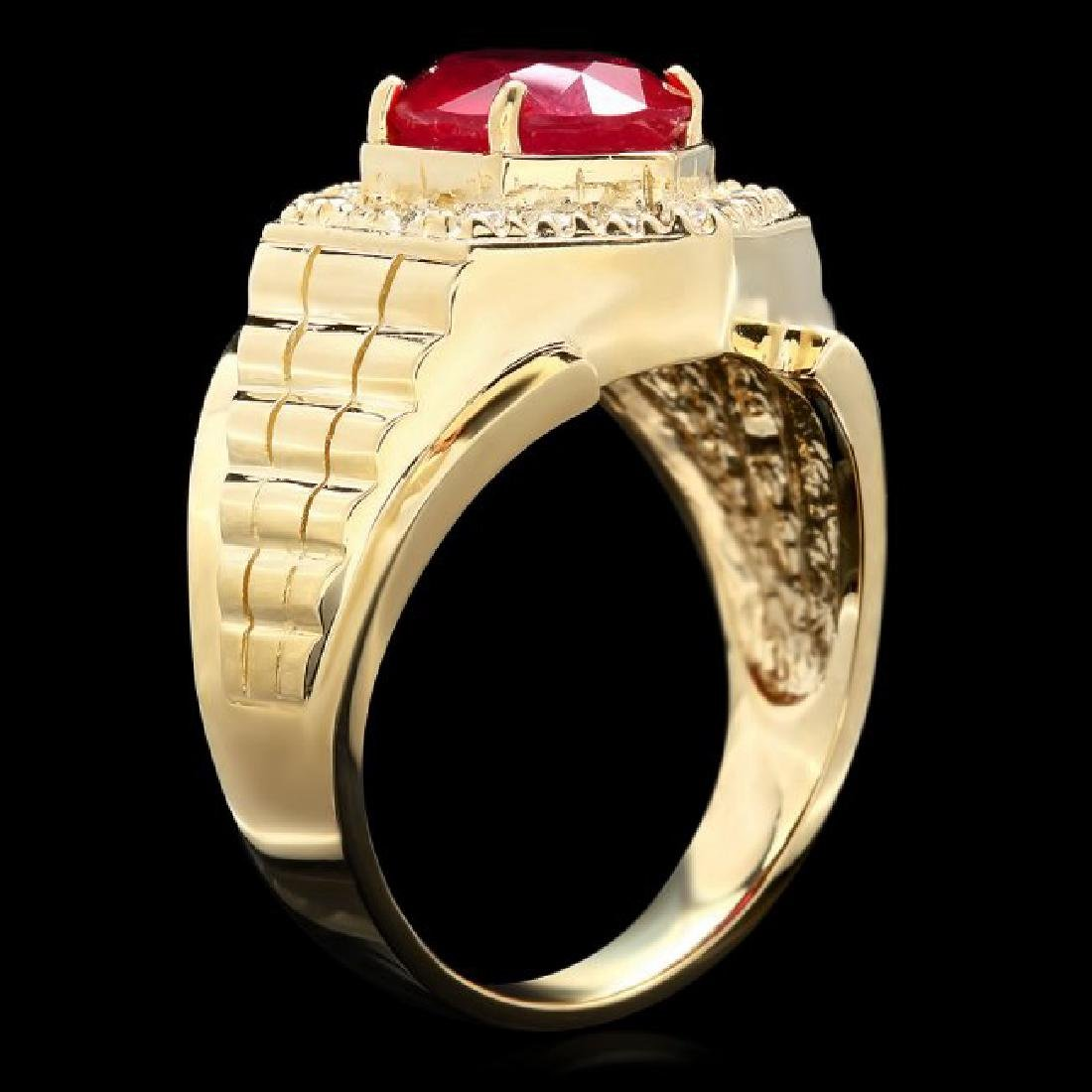 14k Gold 4.50ct Ruby 0.65ct Diamond Mens Ring - 2