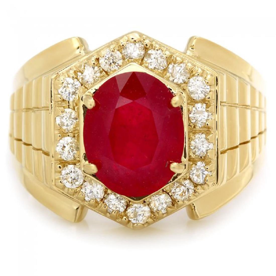 14k Gold 4.50ct Ruby 0.65ct Diamond Mens Ring - 3
