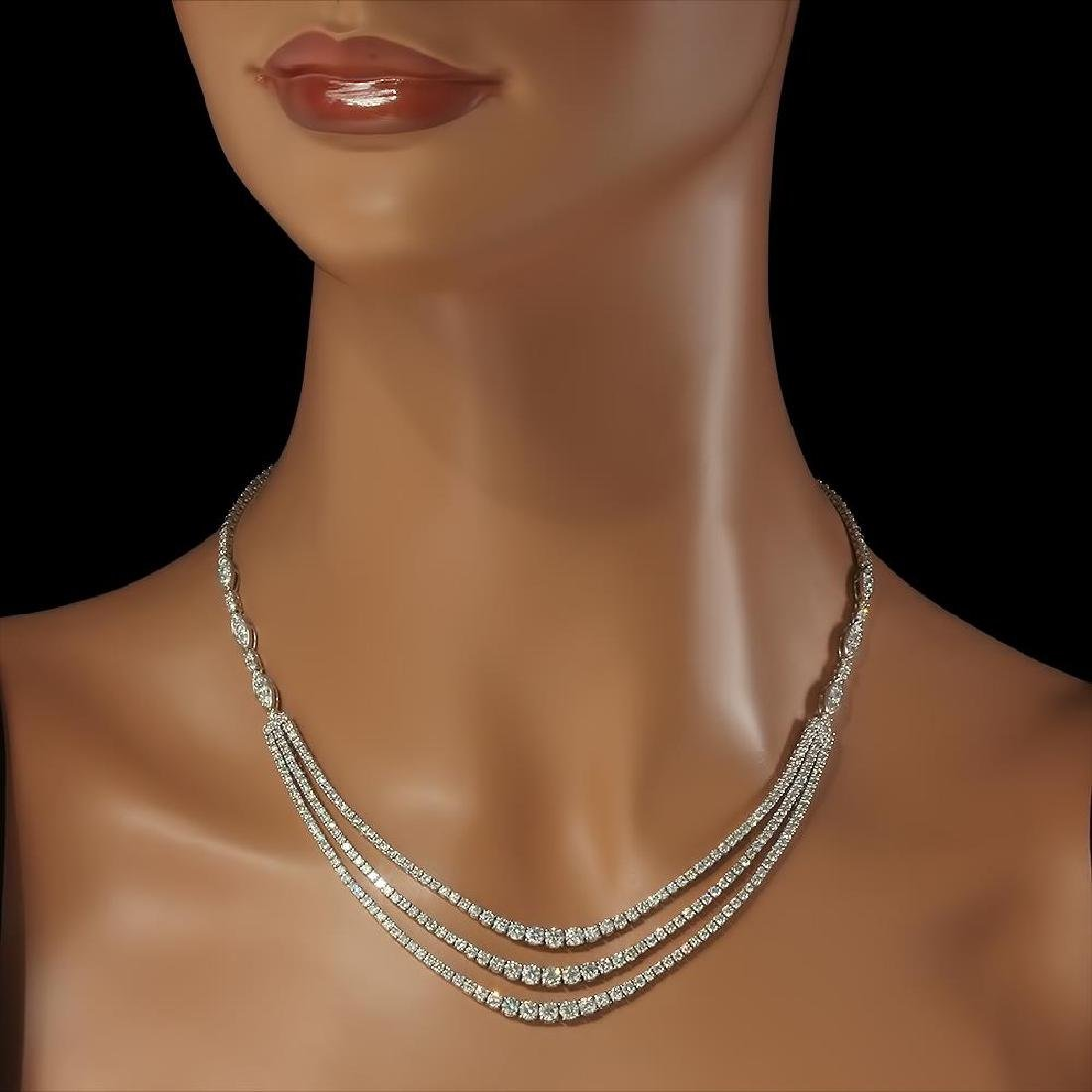 18K Gold 11.20ct Diamond Necklace - 3