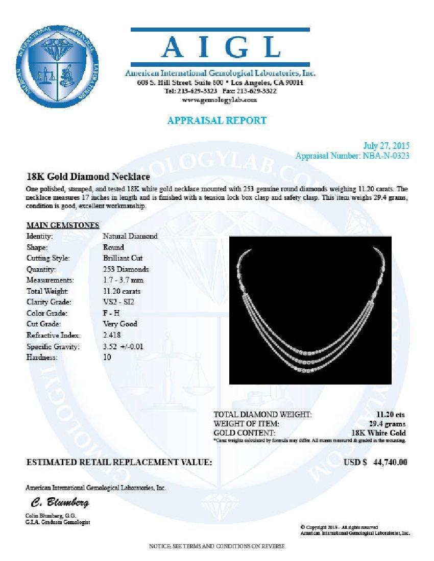 18K Gold 11.20ct Diamond Necklace - 5