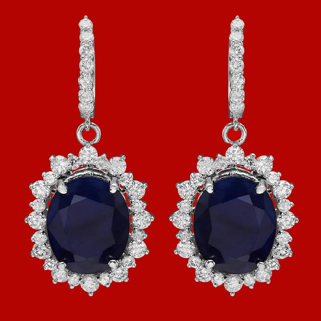 14k Gold 18.89ct Sapphire 3.12ct Diamond Earrings