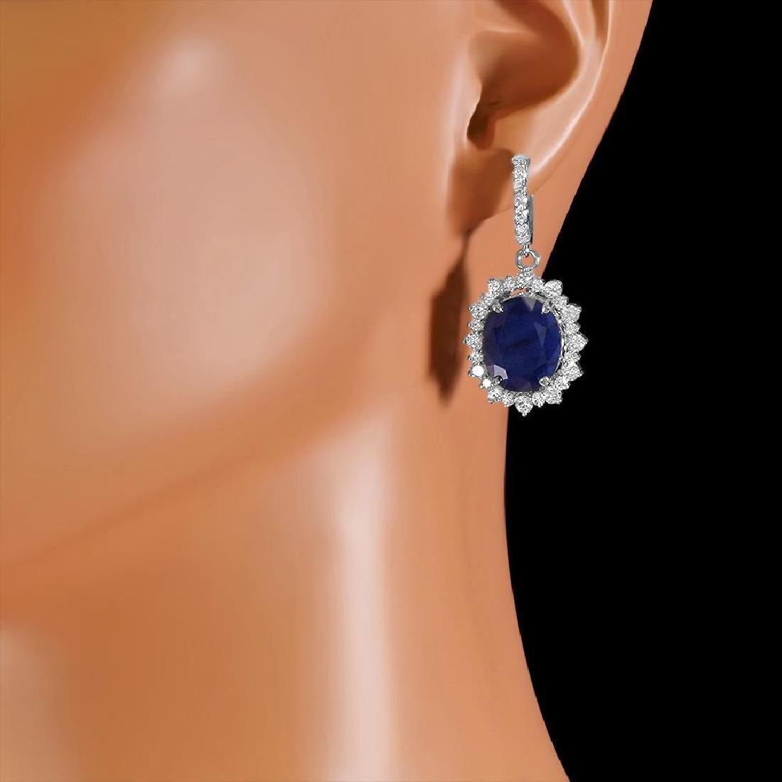 14k Gold 18.89ct Sapphire 3.12ct Diamond Earrings - 2