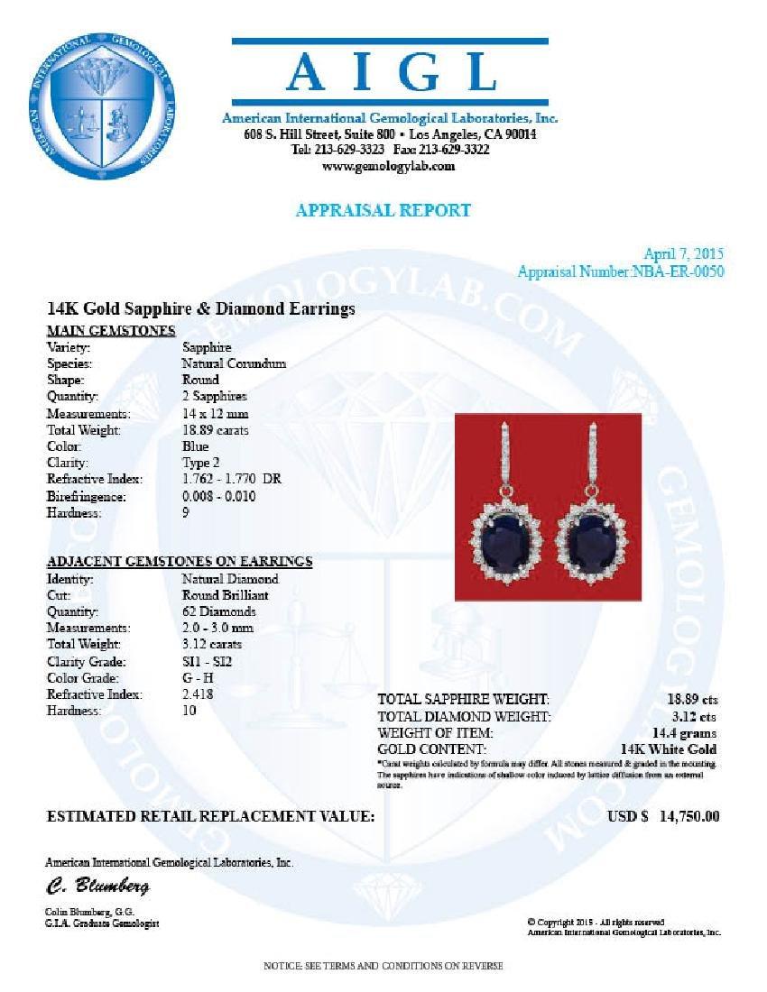 14k Gold 18.89ct Sapphire 3.12ct Diamond Earrings - 3