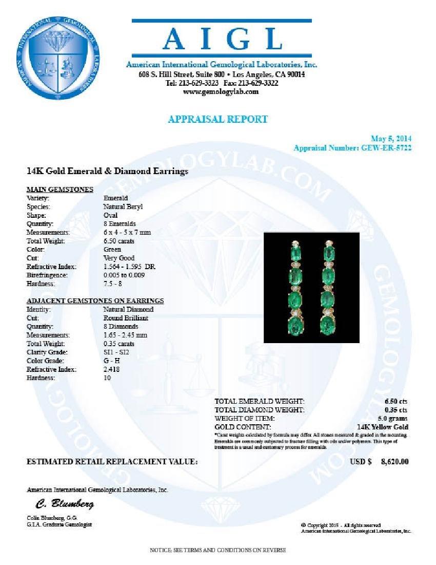 14k Gold 6.5ct Emerald .35ct Diamond Earrings - 5