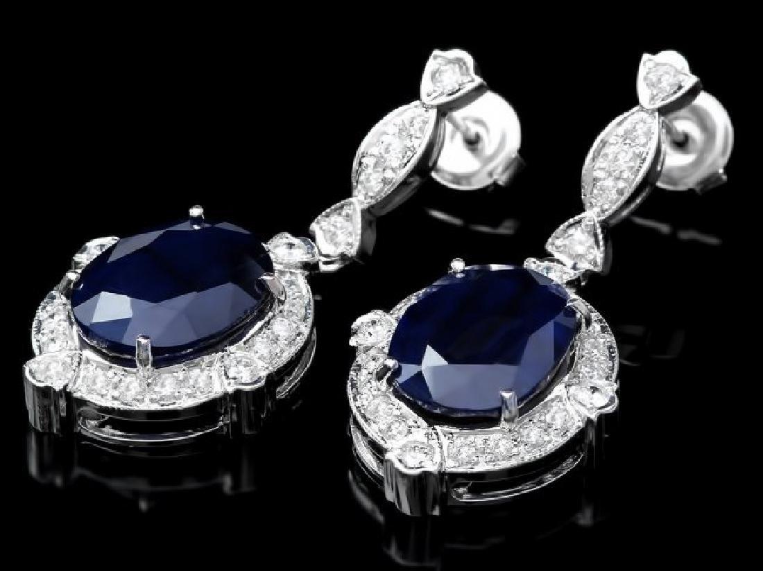 14k Gold 21ct Sapphire 1.70ct Diamond Earrings