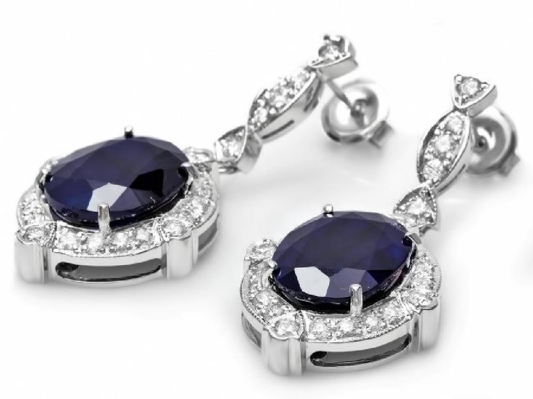 14k Gold 21ct Sapphire 1.70ct Diamond Earrings - 2