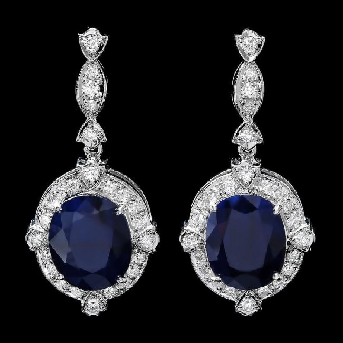 14k Gold 21ct Sapphire 1.70ct Diamond Earrings - 3