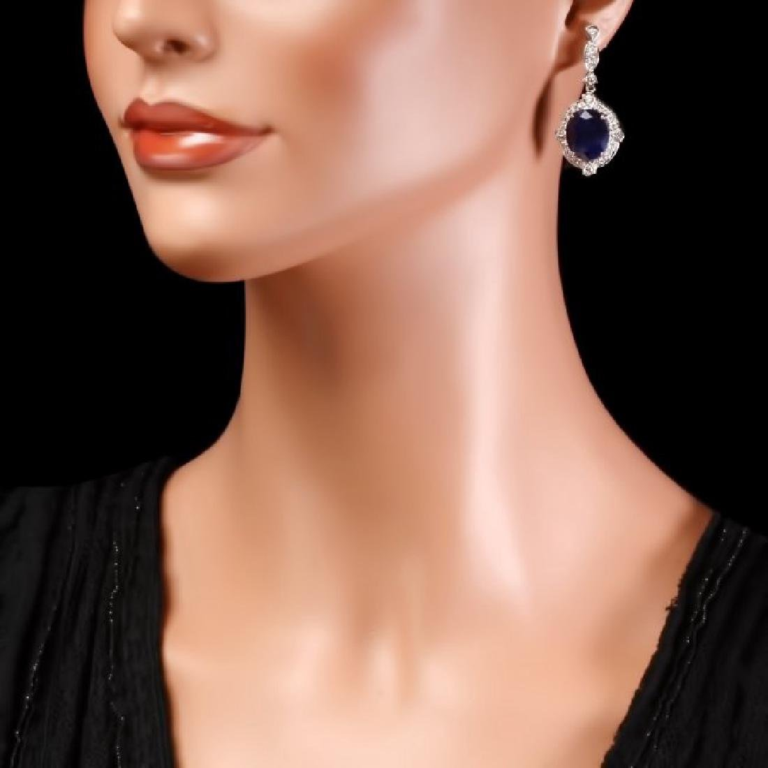 14k Gold 21ct Sapphire 1.70ct Diamond Earrings - 4