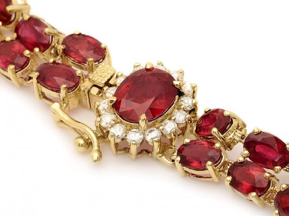14k Yellow Gold 32ct Ruby 0.60ct Diamond Bracelet - 2