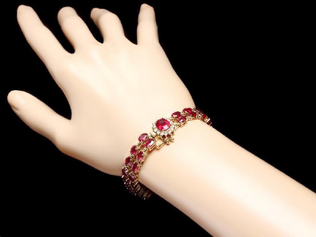 14k Yellow Gold 32ct Ruby 0.60ct Diamond Bracelet - 5