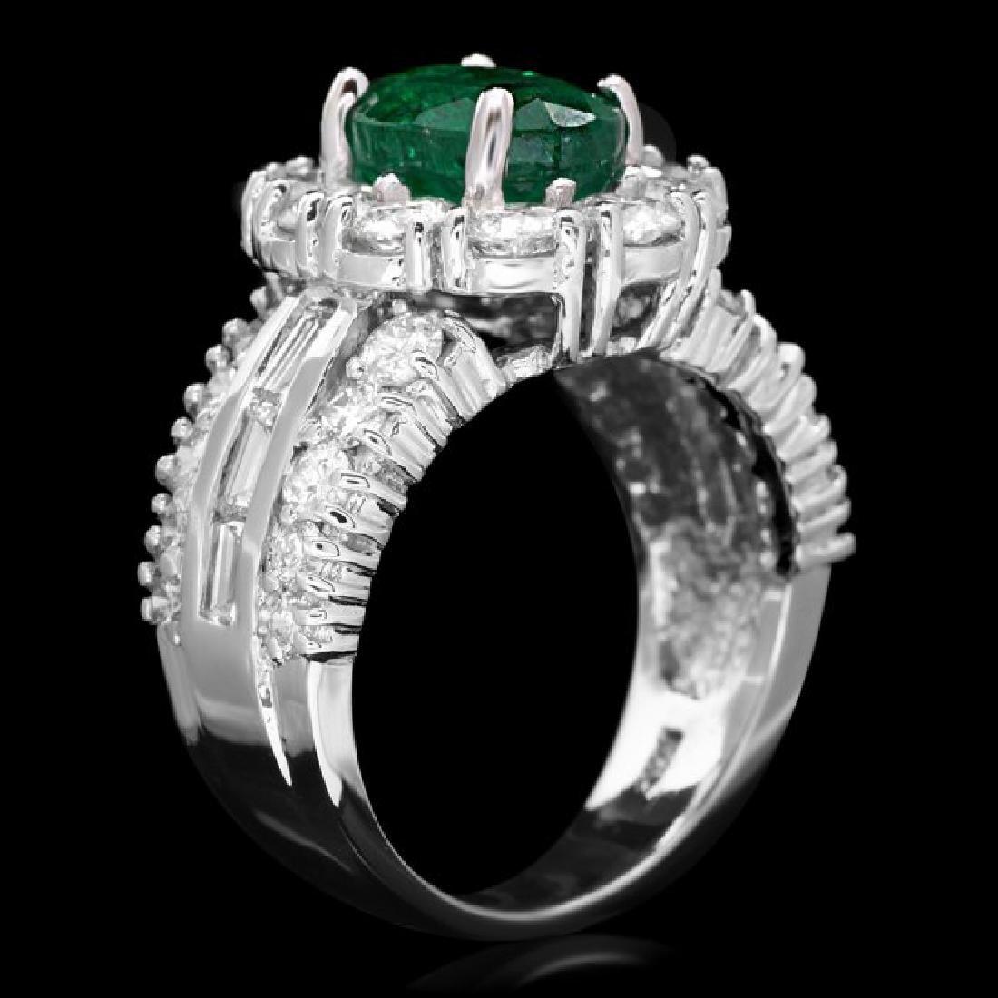 14k White Gold 2.10ct Emerald 3ct Diamond Ring - 3