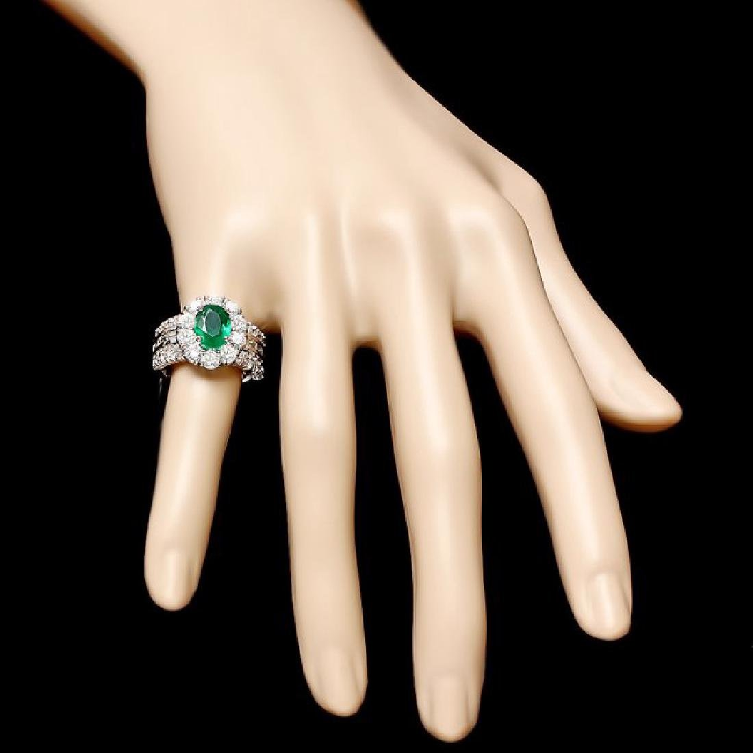 14k White Gold 2.10ct Emerald 3ct Diamond Ring - 4