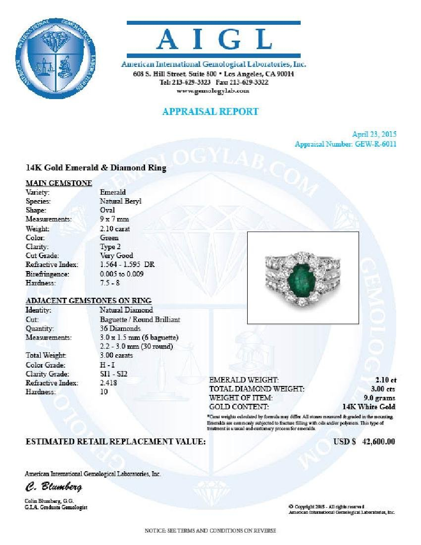 14k White Gold 2.10ct Emerald 3ct Diamond Ring - 5