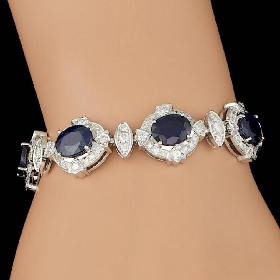 14k Gold 24.50ct Sapphire 5.50ct Diamond Bracelet
