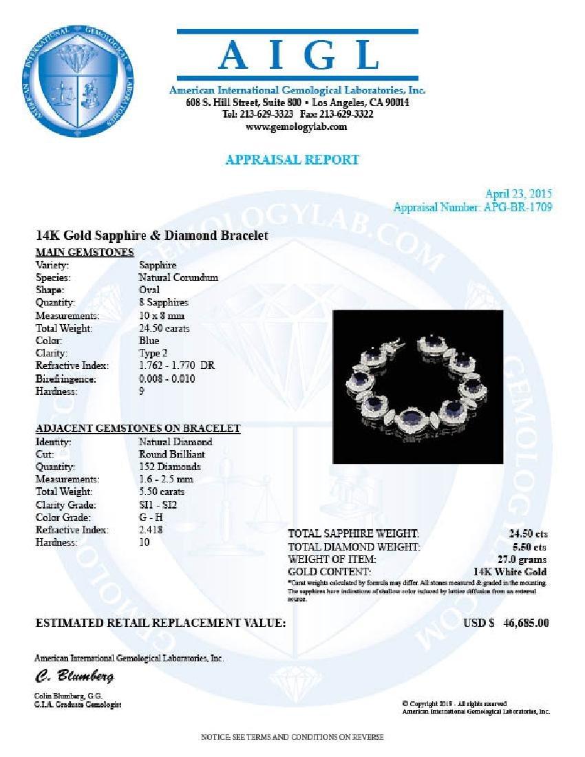 14k Gold 24.50ct Sapphire 5.50ct Diamond Bracelet - 5