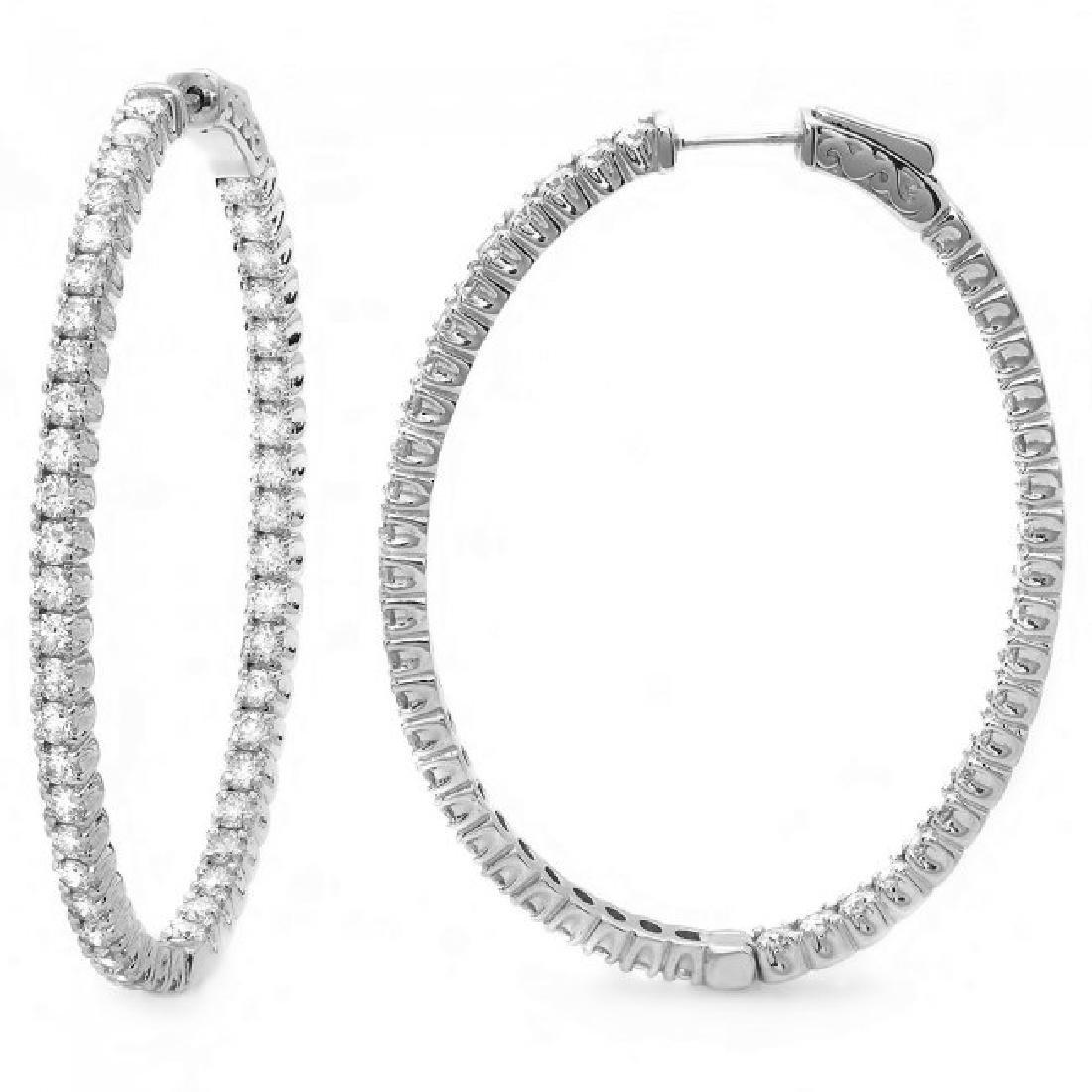 14k White Gold 5.20ct Diamond Earrings - 3