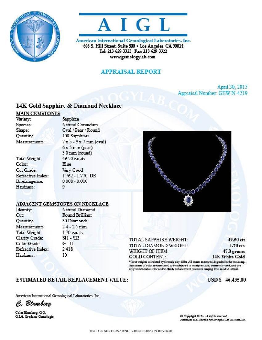 14k Gold 49.5ct Sapphire 1.70ct Diamond Necklace - 6