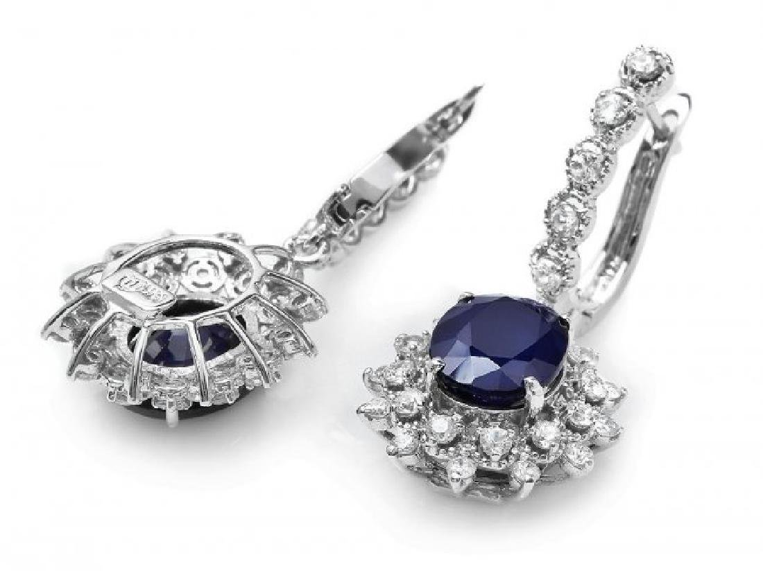 14k Gold 7.00ct Sapphire 1.80ct Diamond Earrings - 2