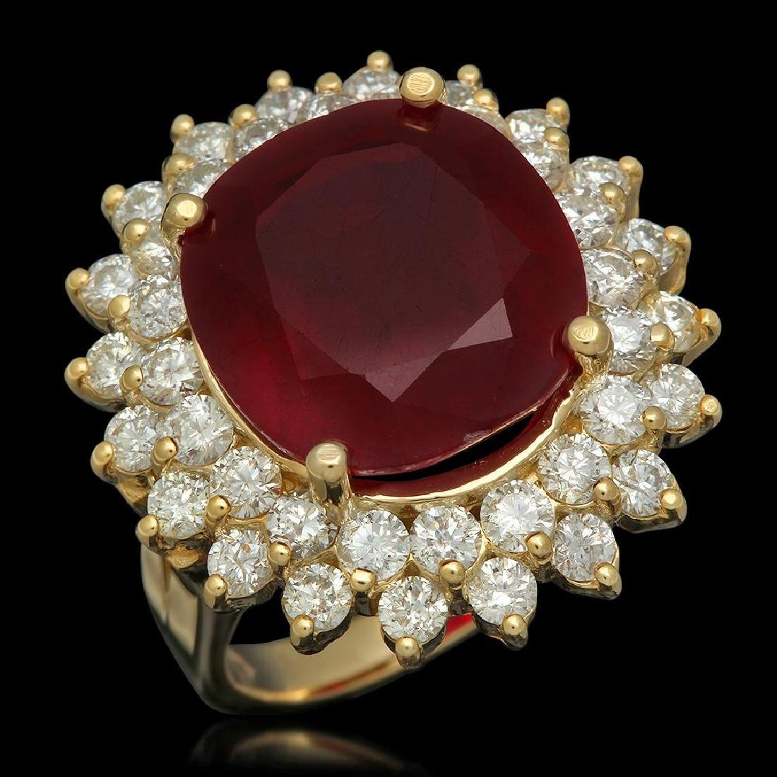 14K Gold 14.38ct Ruby 2.38ct Diamond Ring