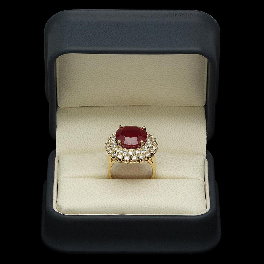 14K Gold 14.38ct Ruby 2.38ct Diamond Ring - 4