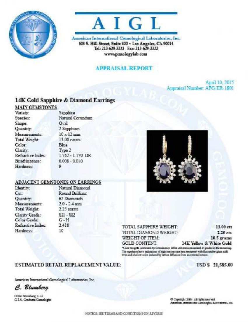 14k Gold 13.00ct Sapphire 2.25ct Diamond Earrings - 5
