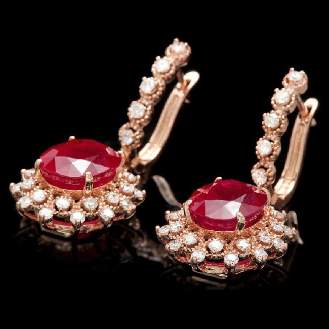 14k Rose 14.00ct Ruby 1.55ct Diamond Earrings - 2
